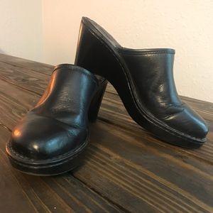 Born Black Leather Mules Size 8